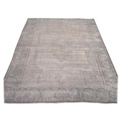 Room Size Vintage distressed Hand Knotted Wool Blue Gray Persian Kirman Rug