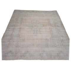 Room Size Vintage Distressed Hand Knotted Wool Ivory, Blue Persian Kerman Rug