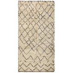 Vintage Moroccan Berber Shaggy Beni Ourain Carpet. Size: 5 ft 9 in x 10 ft 10 in