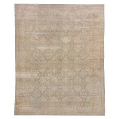 Room Sized Antique Oushak Rug, Gray & Seafoam Allover Field, Lightly Distressed