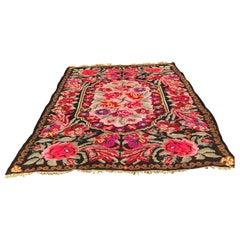 Room Sized Floral Kilim Carpet