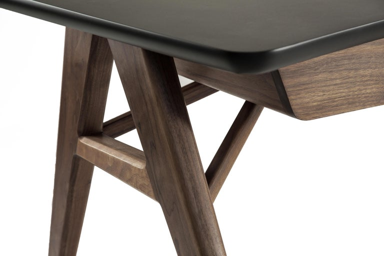 Contemporary Roos Walnut, Mahogany and Steel Desk For Sale