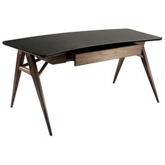 Roos Walnut, Mahogany and Steel Desk