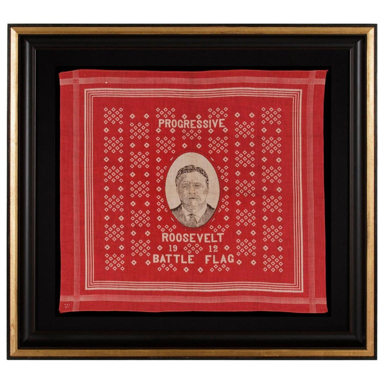 Roosevelt Battle Flag Kerchief, Made for the 1912 Presidential Campaign For Sale