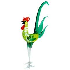 Rooster Bimini Style Art Glass Sculpture Figure, 1960s