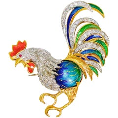 Rooster Brooch in 18 Karat with Diamonds and Enamel