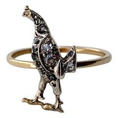 Rooster Chicken Bird Rose Cut Diamond Platinum Ring Victorian Edwardian Cockerel