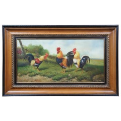 Rooster Oil Painting on Canvas by W. Ceruti Chickens Barnyard Farmhouse