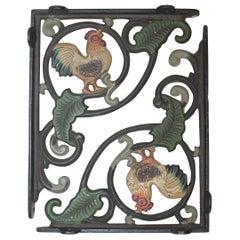 Rooster Original Painted Iron Shelf Hinges, Pair