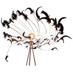 Rooster Tail Feathers Chandelier, France