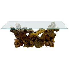 Root Burl Glass Top Console Table