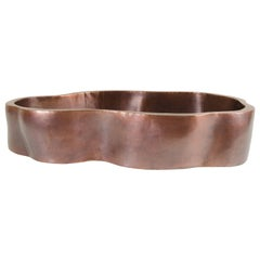 Root Shape Oblong Low Cachepot, Antique Copper by Robert Kuo, Limited Edition