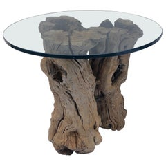 Root Wood Table with Glass Top