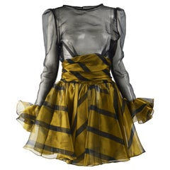 Roots 1980s Vintage Sheer Black & Gold Party Dress