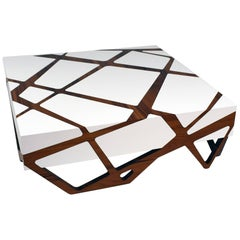 Roots White Lacquer Coffee Table with Iron Wood
