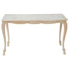 """Rope and Tassel"" Carved Console with Aged Mirrored Top"