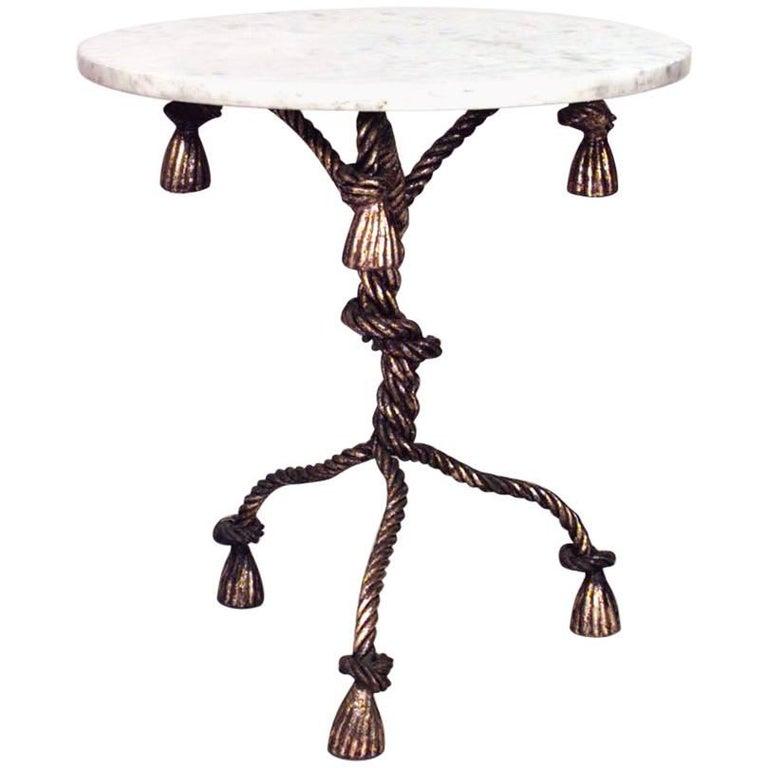 Rope and Tassel Design Gilt Metal Pedestal Base End Table  For Sale