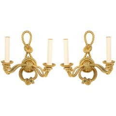 Rope and Tassel Gilt Bronze Wall Sconce
