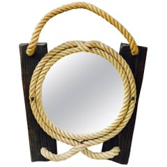 Rope and Wood Mirror Audoux Minet, circa 1960