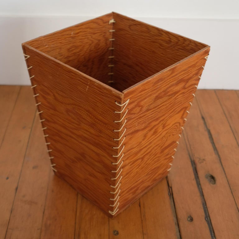 Wastepaper basket from the 1950s. Constructed with rope and combed plywood.