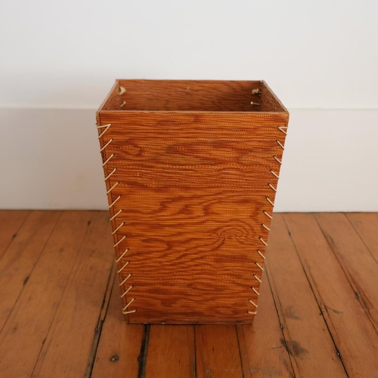 Mid-Century Modern Rope and Wood Wastepaper Basket, 1950s For Sale