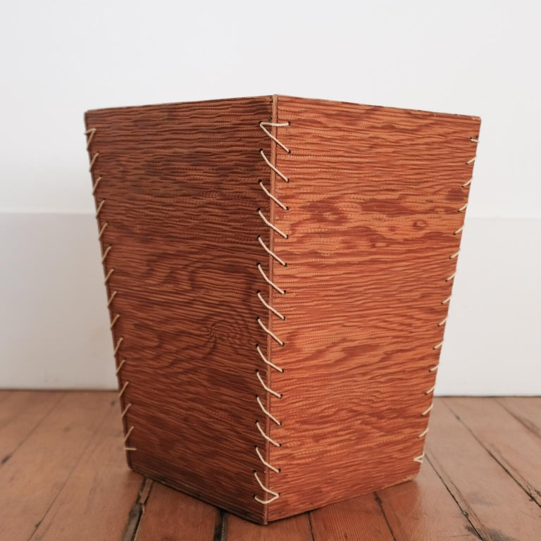 Rope and Wood Wastepaper Basket, 1950s In Good Condition For Sale In San Diego, CA