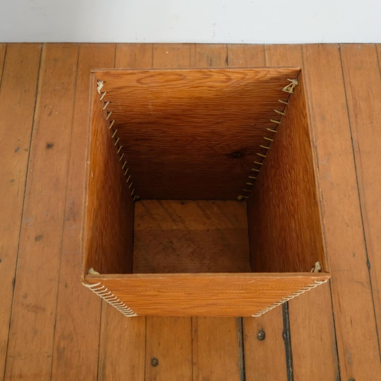 Mid-20th Century Rope and Wood Wastepaper Basket, 1950s For Sale