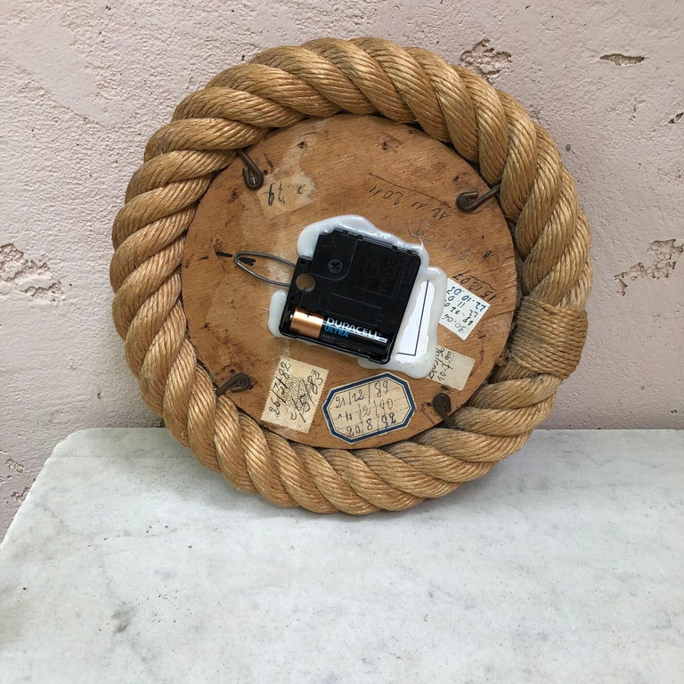 French Rope Clock Audoux Minet, circa 1960 For Sale