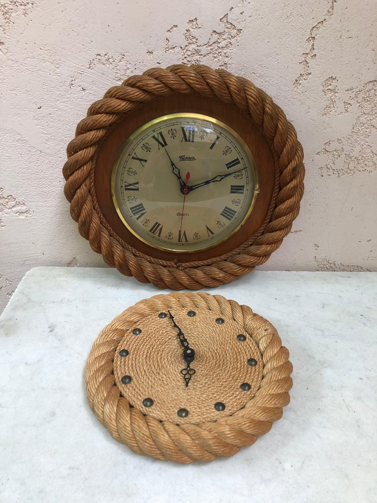 Rope Clock Audoux Minet, circa 1960 In Good Condition For Sale In The Hills, TX