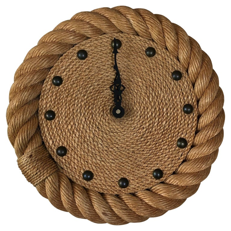 Rope Clock Audoux Minet, circa 1960 For Sale
