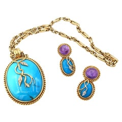 Rope Detail Cabochon Amethyst Turquoise Diamond Pendant Chain and Earrings Set