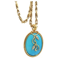 Rope Detail Openable Pendant Cabochon Turquoise Diamond Vine Gold Link Chain