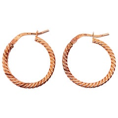 Rope Earrings, 14 Karat Rose Gold  Designer Hoop Earrings