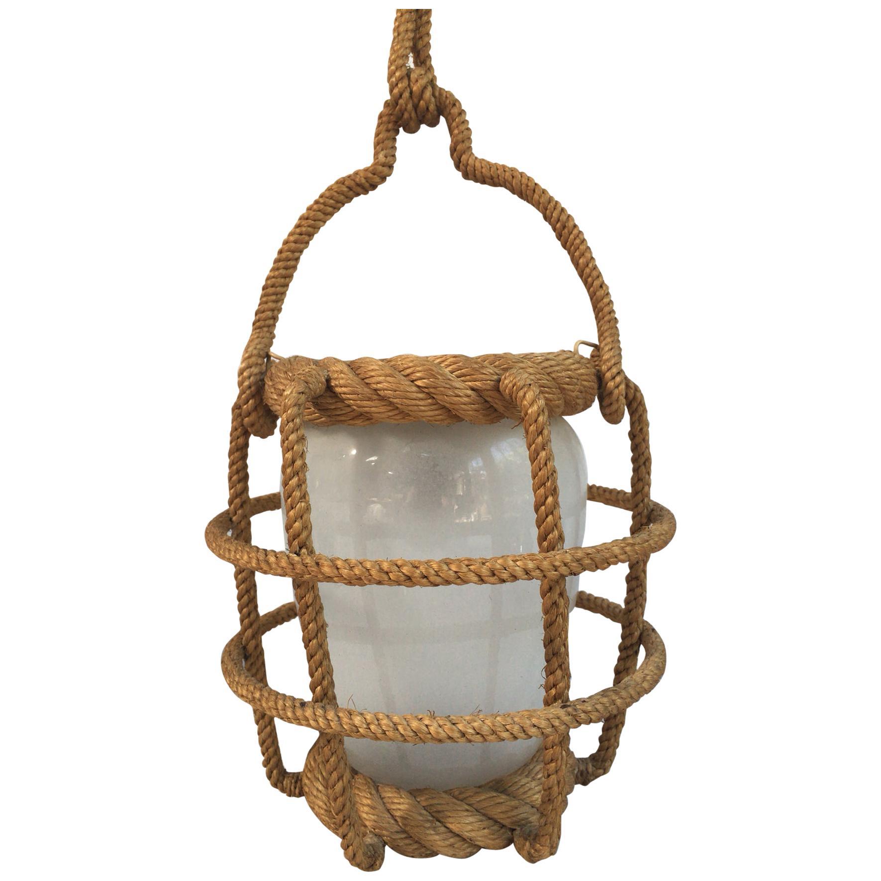 Rope Lantern Chandelier Audoux Minet, circa 1960