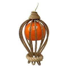 Rope Lantern Chandelier Balloon Audoux Minet, circa 1960