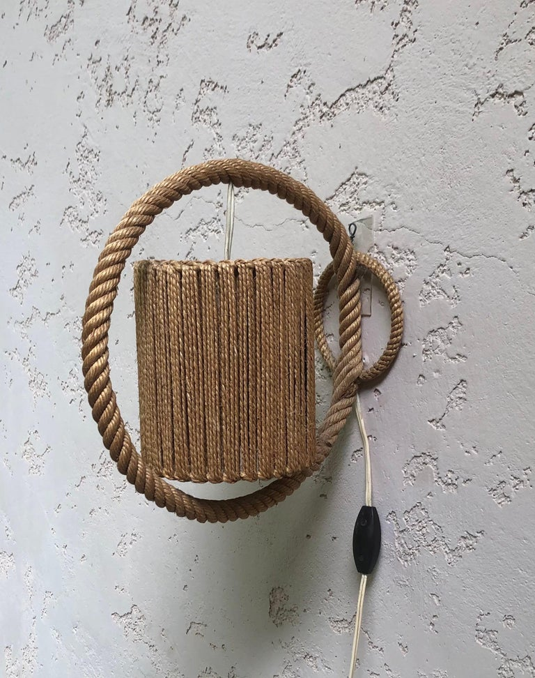 Unusual rope sconce Audoux Minet, circa 1960.