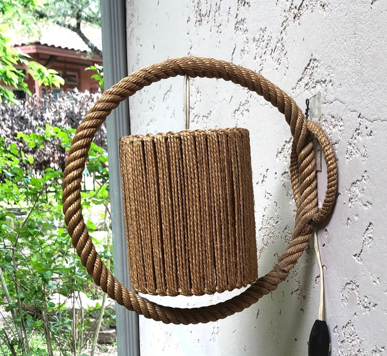 French Rope Sconce Audoux Minet, circa 1960 For Sale
