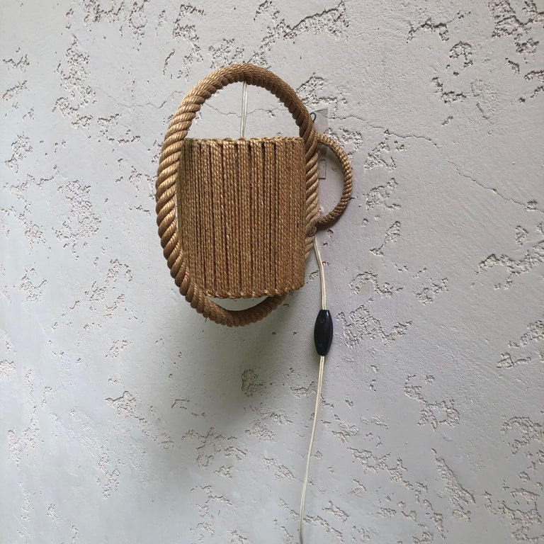Rope Sconce Audoux Minet, circa 1960 In Good Condition For Sale In The Hills, TX