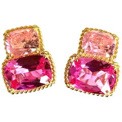 Rope Twist Border Earrings, Medium Size with Pink Topaz and Bright Pink Topaz