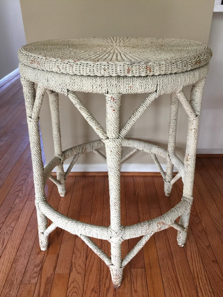 Mid-Century Modern Rope Wrapped Center Hall Entry Table Whitewash Wood and Metal Frame For Sale
