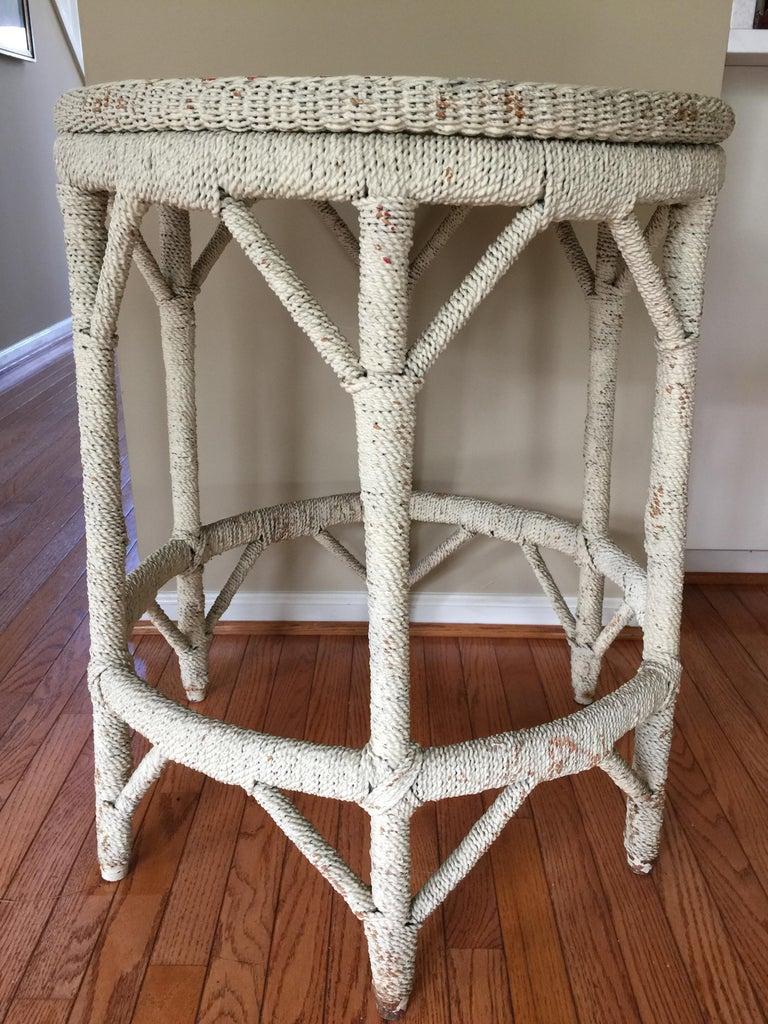 Rope Wrapped Center Hall Entry Table Whitewash Wood and Metal Frame In Good Condition For Sale In Lambertville, NJ