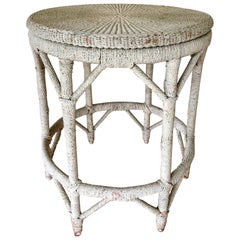 Rope Wrapped Center Hall Entry Table Whitewash Wood and Metal Frame