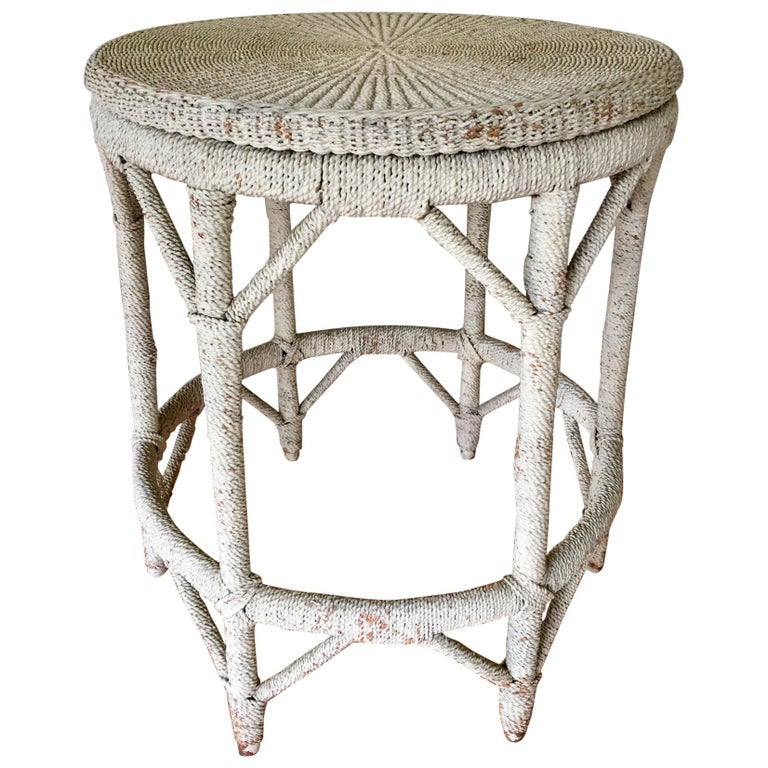 Rope Wrapped Center Hall Entry Table Whitewash Wood and Metal Frame For Sale