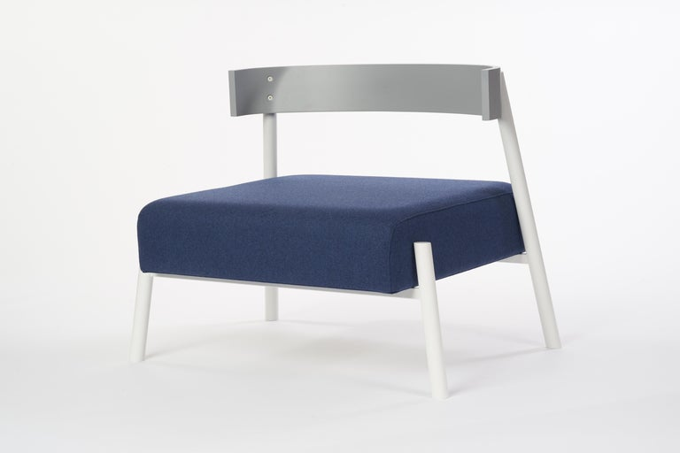 Frame: The frame is constructed from cold-rolled steel, which is laser-cut and welded. Custom eco-friendly matted powder coated finish.  Back: 5 axis CNC construction. Custom hand painted Eco MDF core  Cushion: The cushion is made from