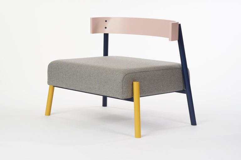 Scandinavian Modern Roque Lounge Chair, Melton Wool and Eco-Friendly Powder Coated Steel Frame For Sale