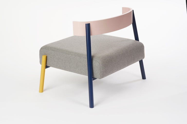 Canadian Roque Lounge Chair, Melton Wool and Eco-Friendly Powder Coated Steel Frame For Sale