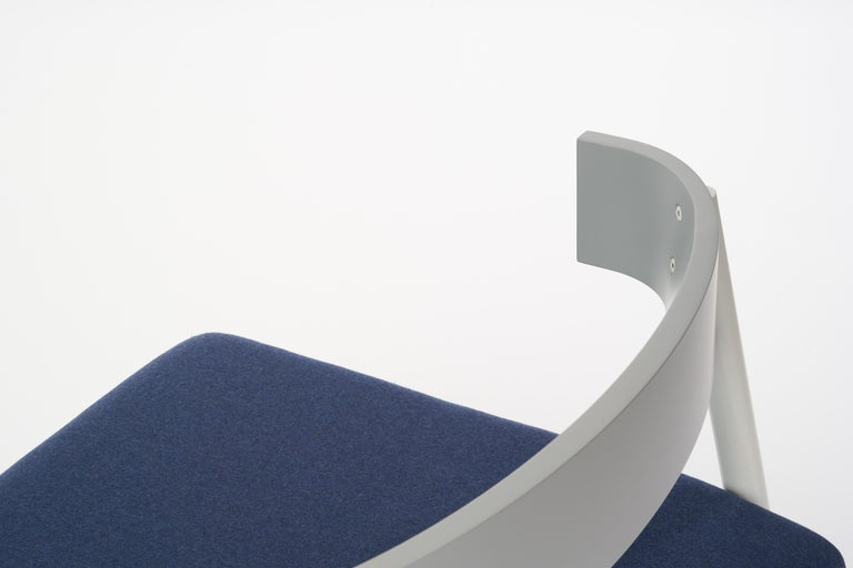 Hand-Painted Roque Lounge Chair, Melton Wool and Eco-Friendly Powder Coated Steel Frame For Sale