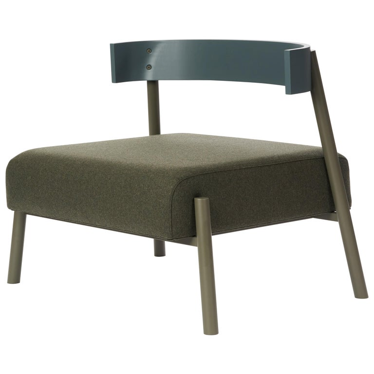 Roque Lounge Chair, Melton Wool and Eco-Friendly Powder Coated Steel Frame For Sale