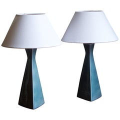 Rörstand, Table Lamps, Blue Glazed Ceramic, Fabric, Sweden, 1950s