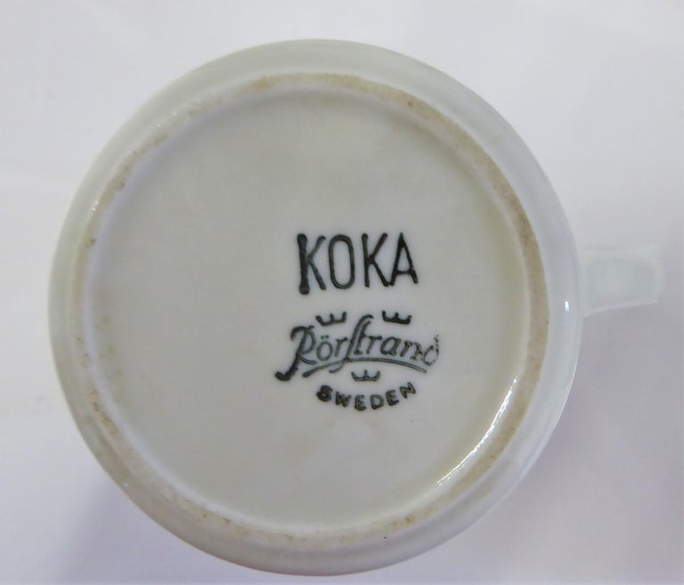 Rörstrand Coffee / Tea Set Koka Blå Pattern Designed by Hertha Bengtson, 1950s For Sale 3